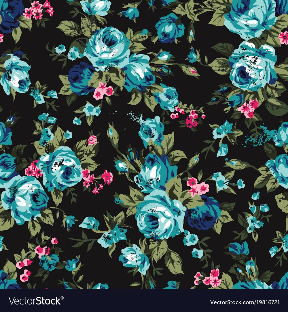 Vintage chintz roses seamless pattern