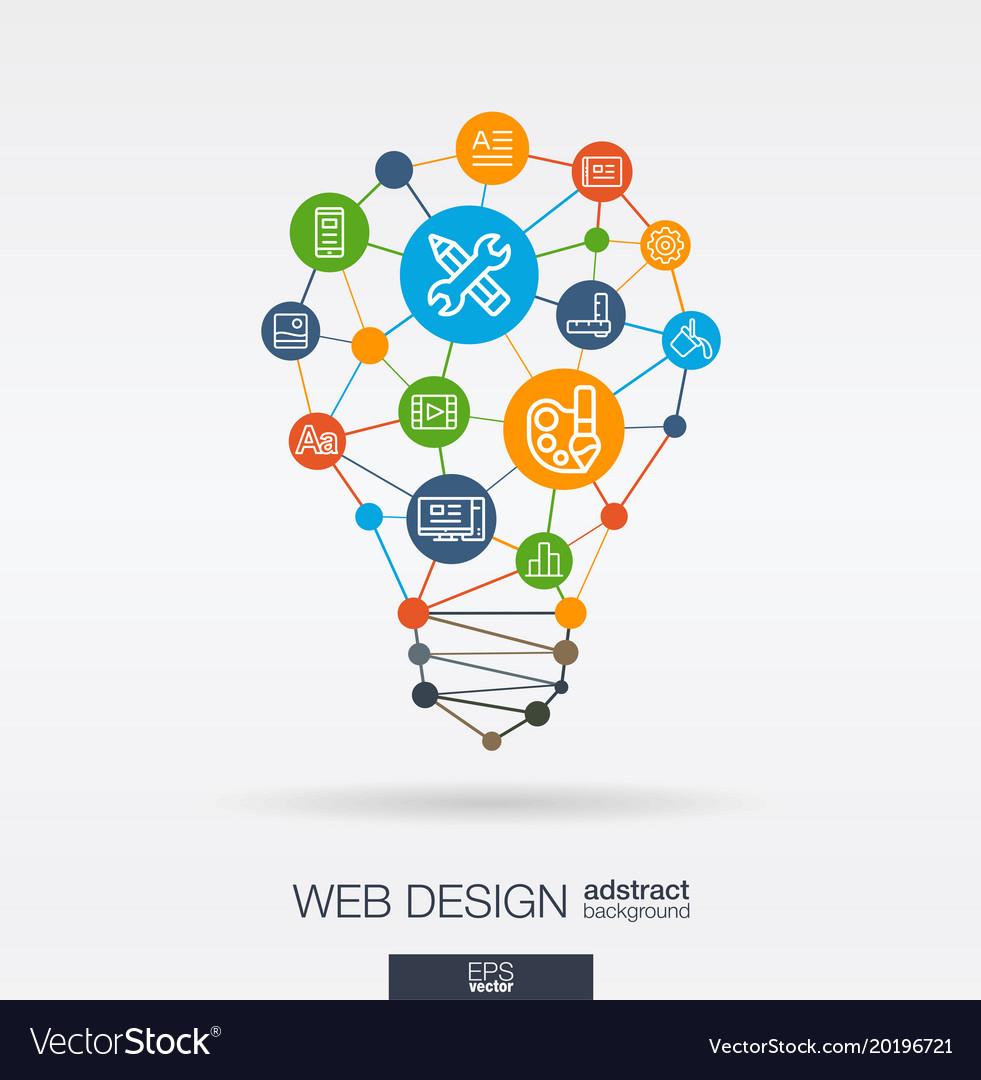 Web development integrated thin line icons