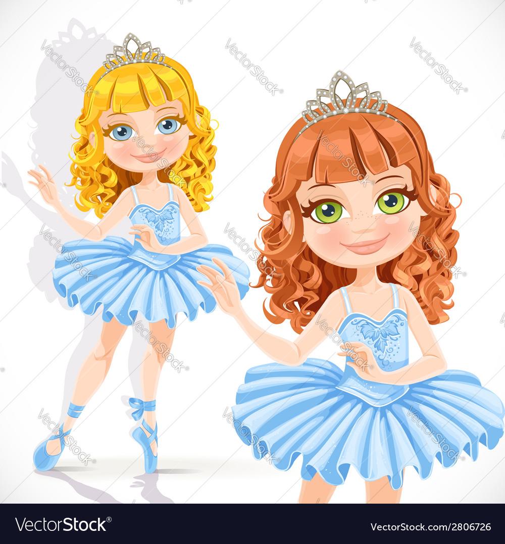 Beautiful little ballerina girl in tiara and blue