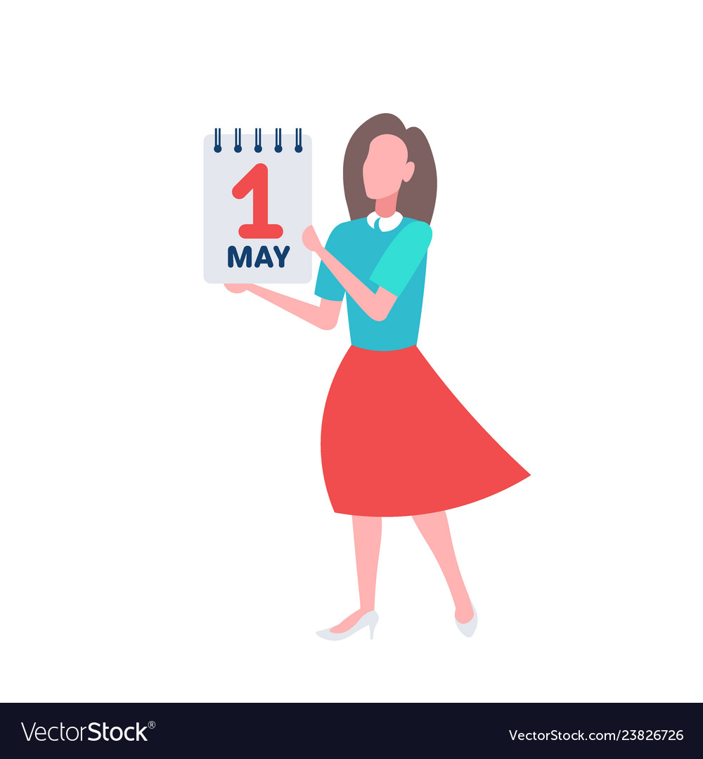 Businesswoman holding calendar 1 may date happy