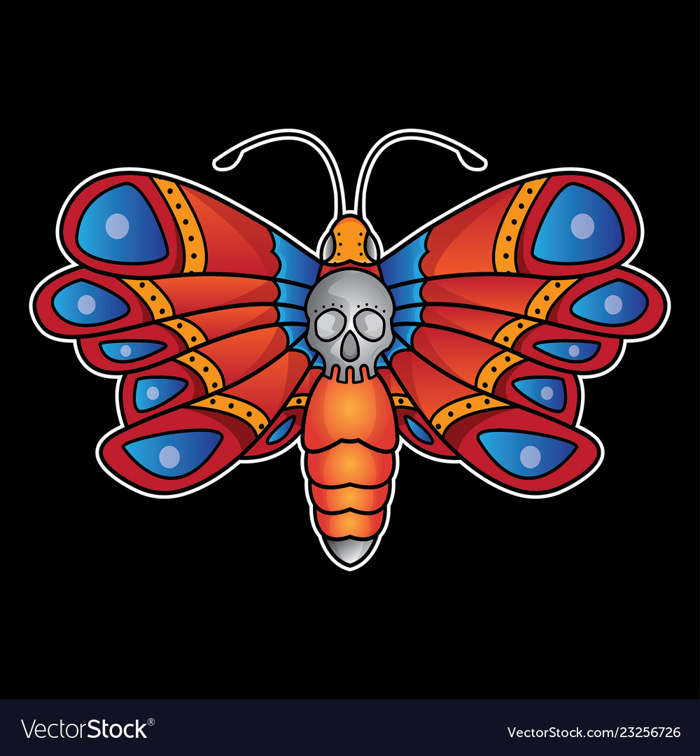 e74ee04ee Butterfly tattoo old school Royalty Free Vector Image