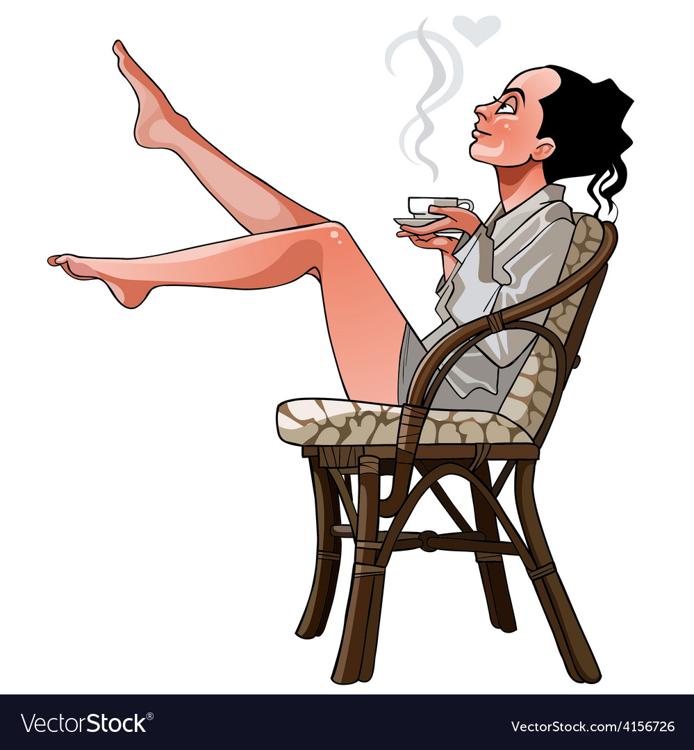 Cartoon girl sitting on a chair holding a cup vector image