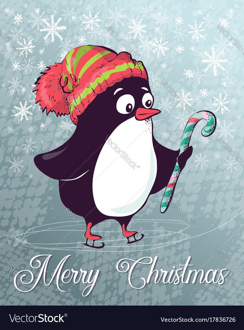 Christmas postcard penguin on skates