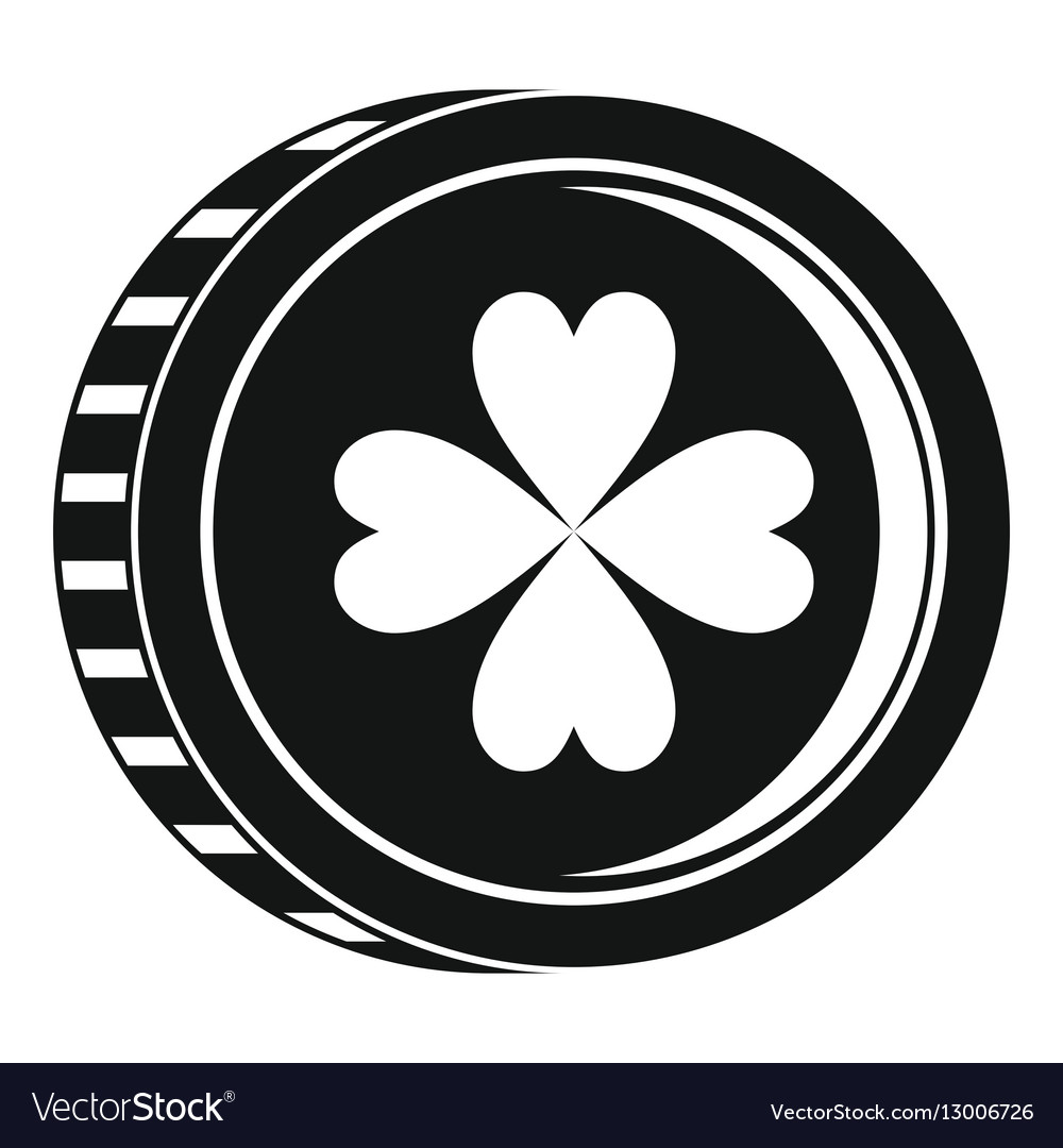 Coin with clover sign icon simple style vector image