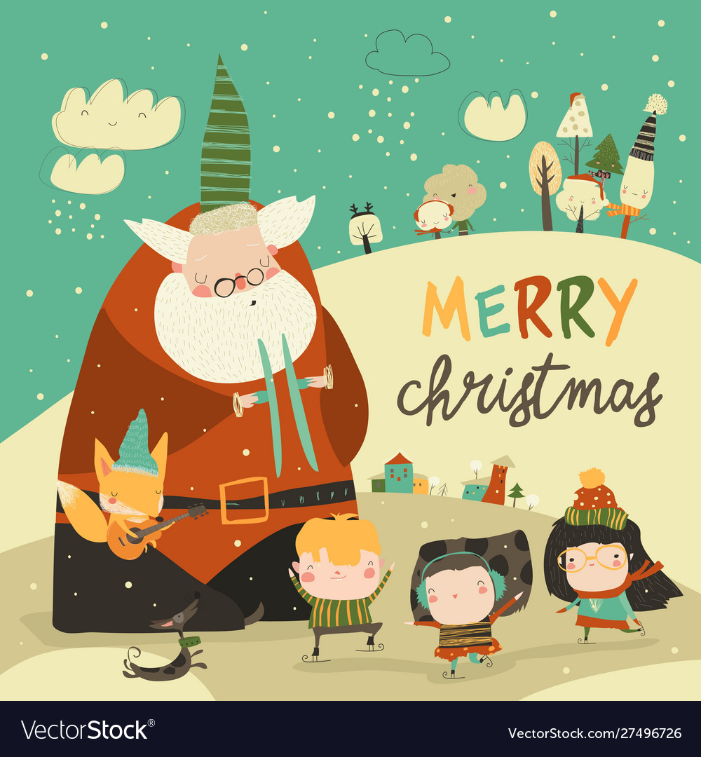 Funny santa claus celebrating chistmas with cute