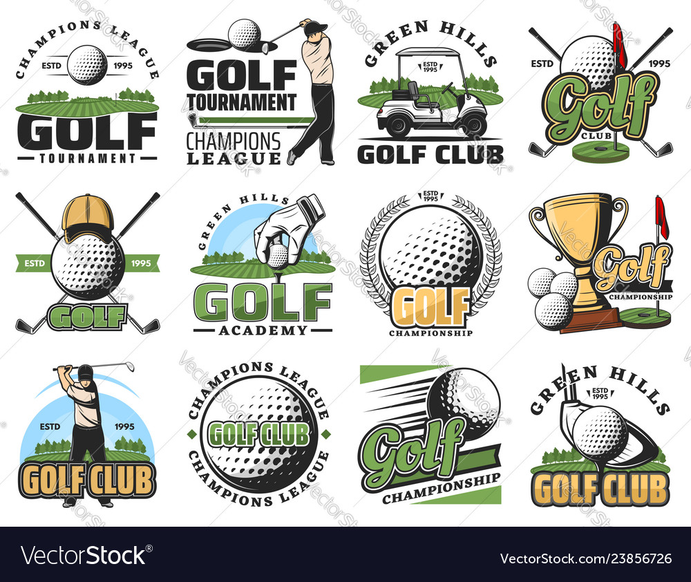 Golf game sport equipment and trophy cup icons