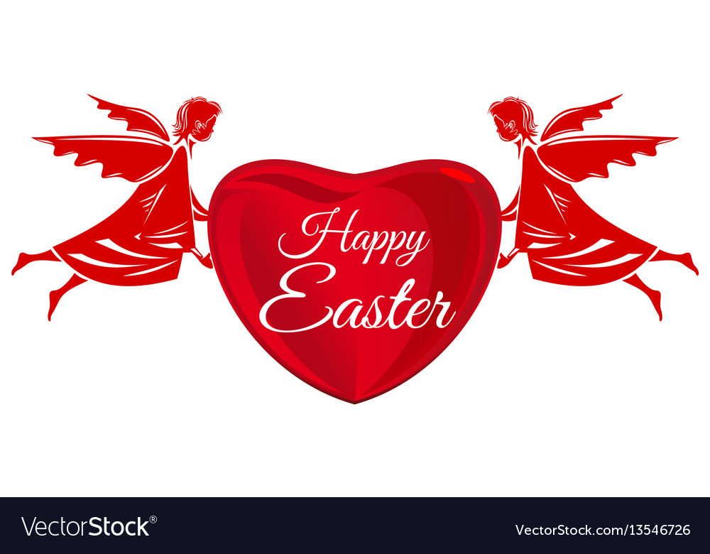 Happy easter angels big red heart with greeting