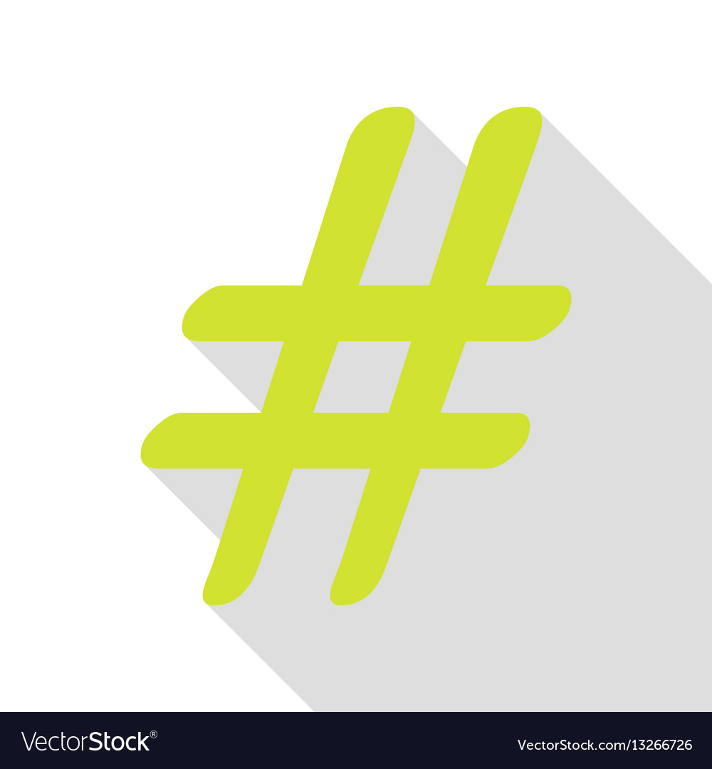 Hashtag sign pear icon with flat