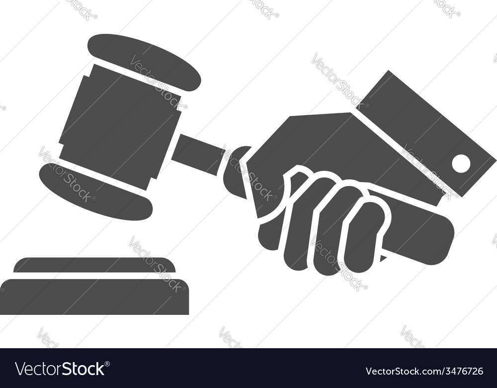 Judge gavel in hand black and white icon