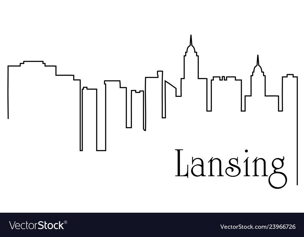 Lansing city one line drawing