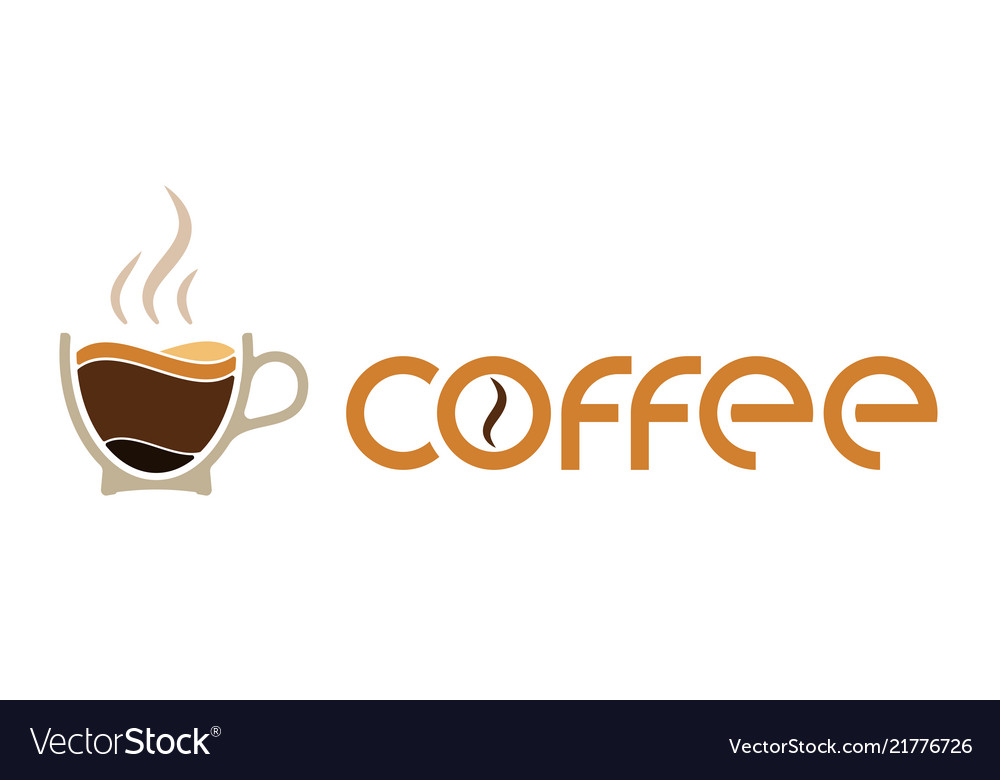 Morning cup coffee for waking up logo or