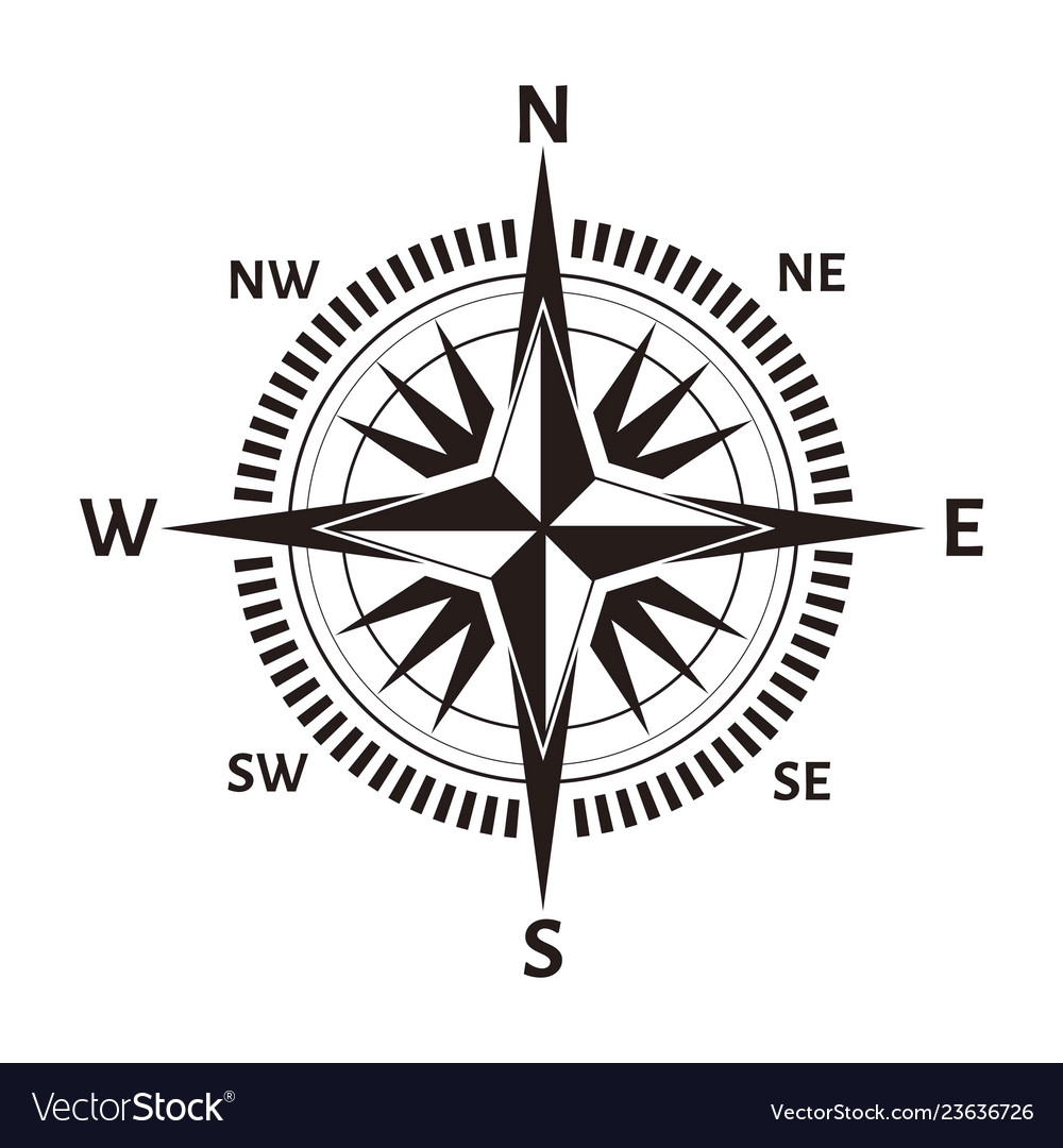 Navigation compass or wind rose icon retro
