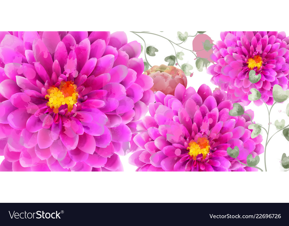 Spring Flowers Banner Watercolor Beautiful Vector Image