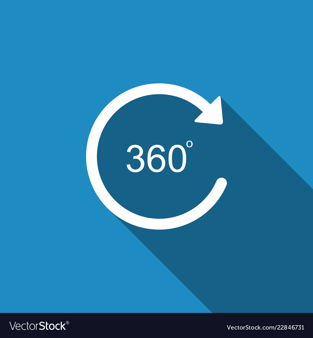 Angle 360 degrees icon isolated with long shadow