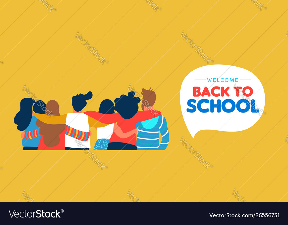 Back to school diverse student friend group banner