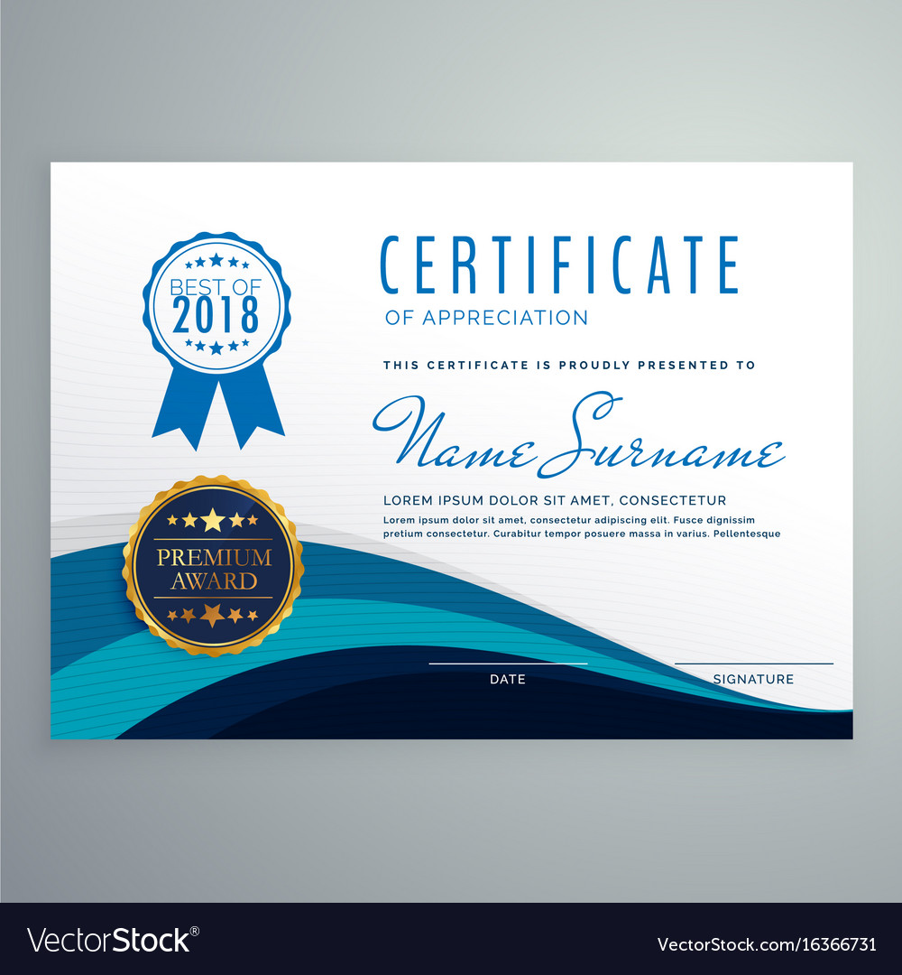 Blue wavy certificate design template royalty free vector blue wavy certificate design template vector image yelopaper Gallery