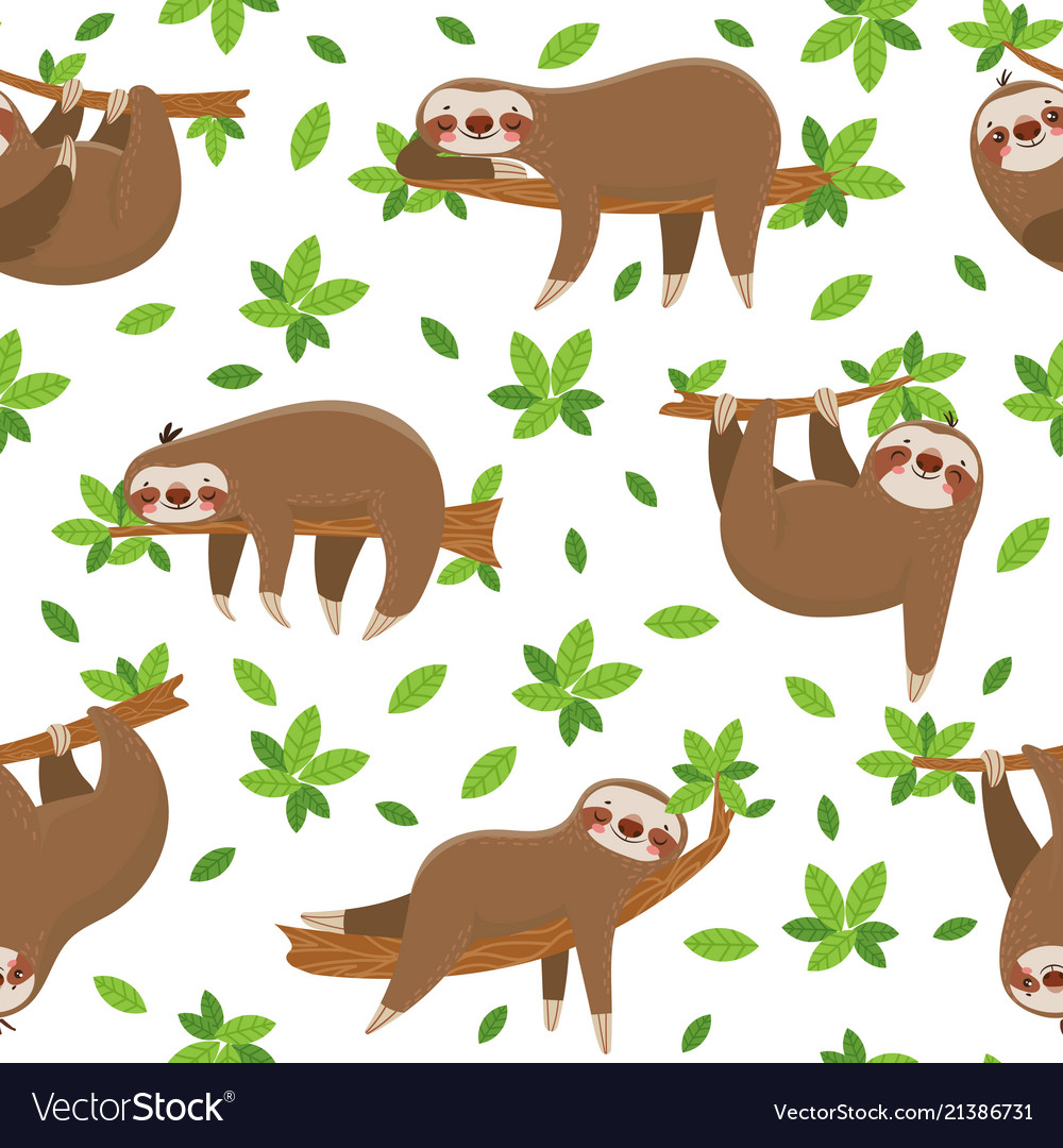 Cartoon sloth seamless pattern cute sloths on