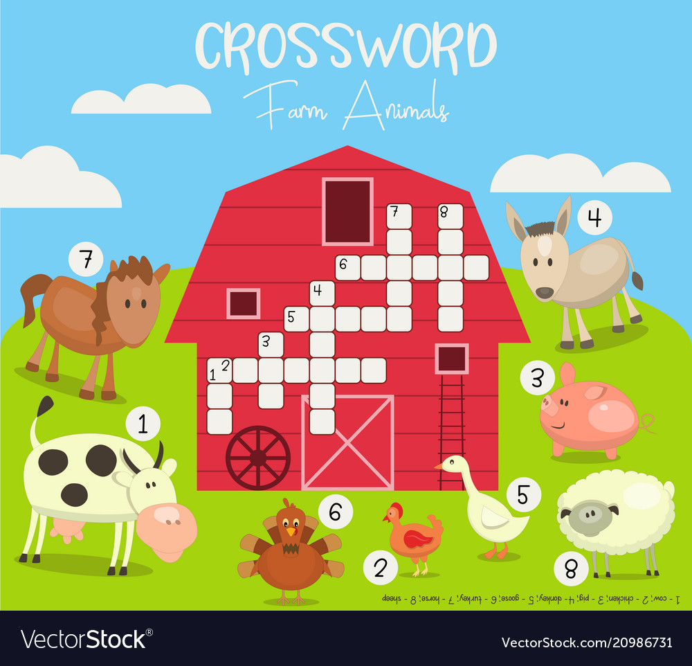 Colorful crossword in english Royalty Free Vector Image