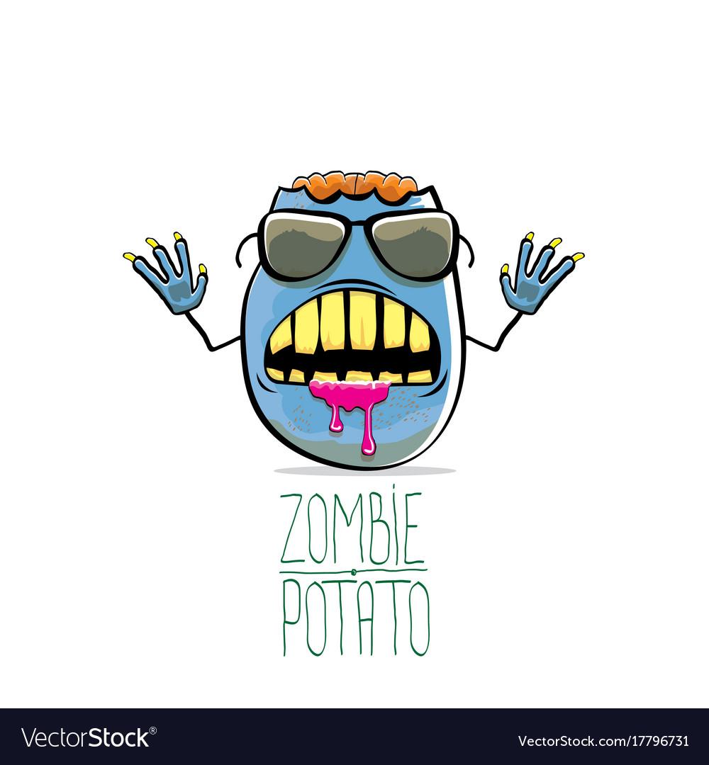 Funny cartoon cute blue zombie potato vector image