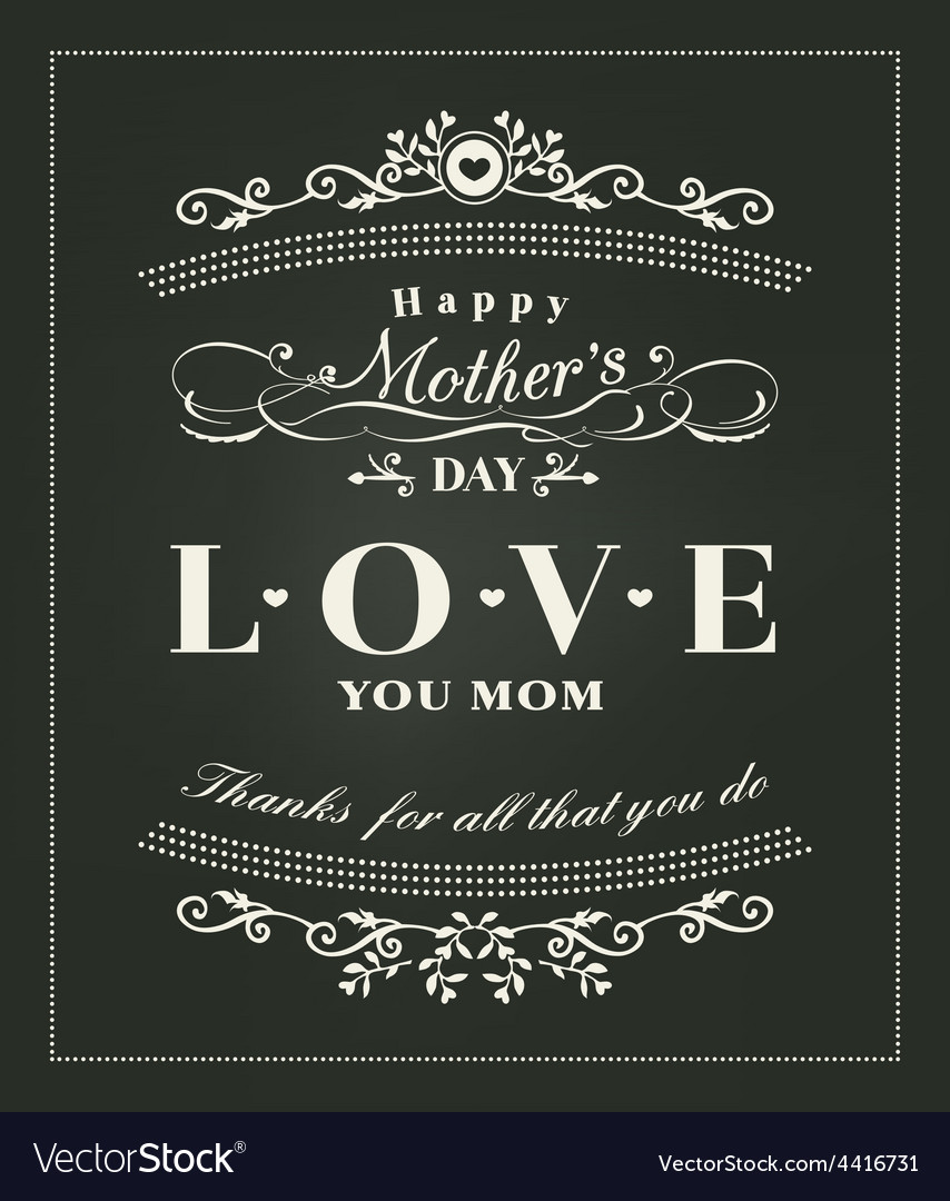 Happy mothers day typography design on blackboard