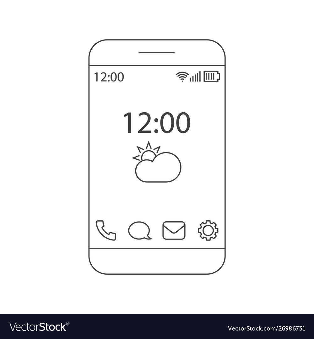 Home screen smartphone interface outline