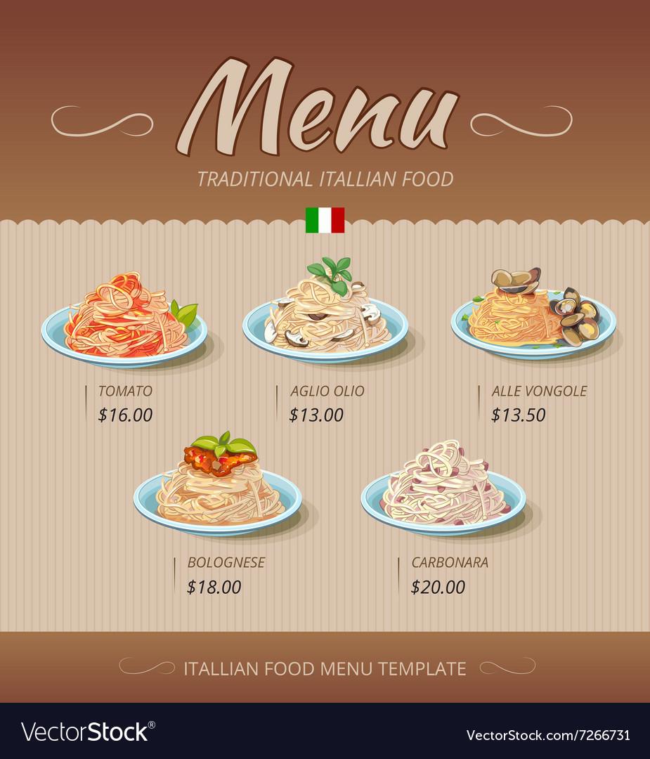 Pasta restaurant menu design template
