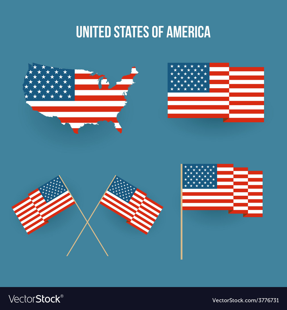 Set of american flag and map Flat design