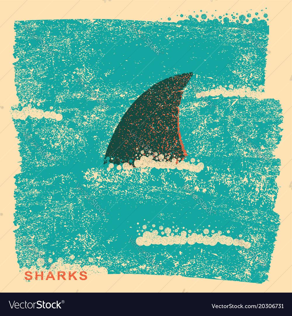 Shark fin in oceanvintage poster on old paper