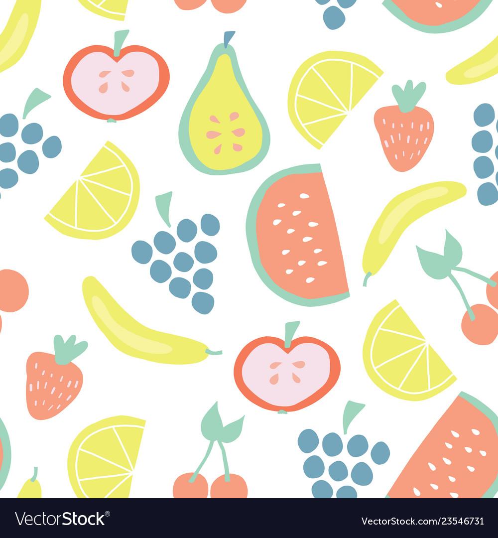 Summer fruit seamless background pattern