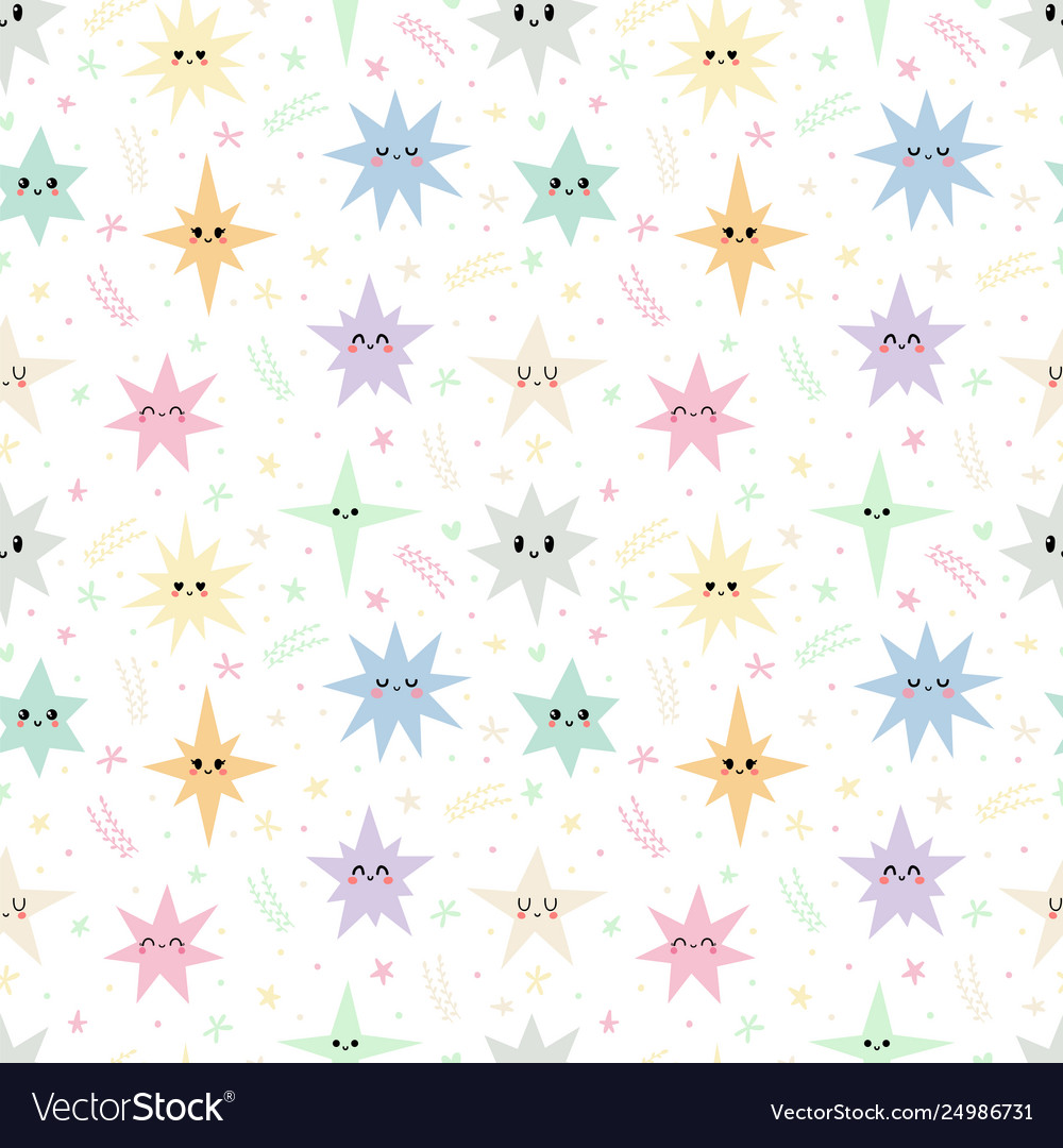 Sweet seamless pattern with colorful stars