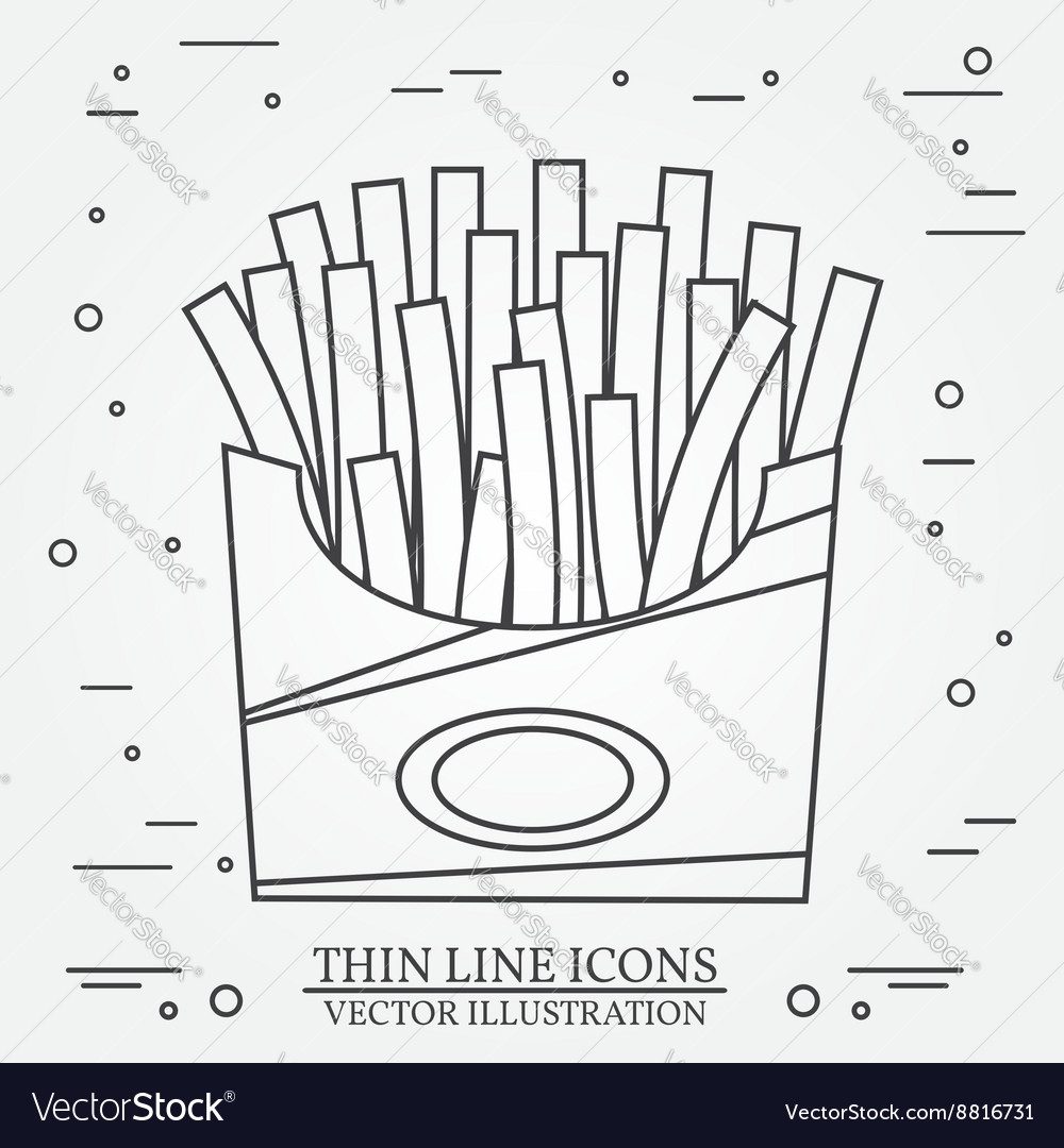 Thin line icon fries in box For web design and