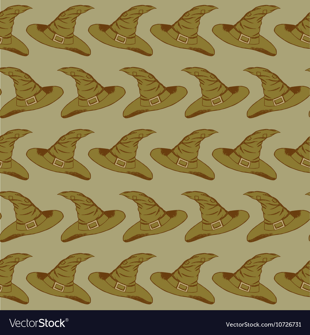 Witch hat halloween pattern vector image