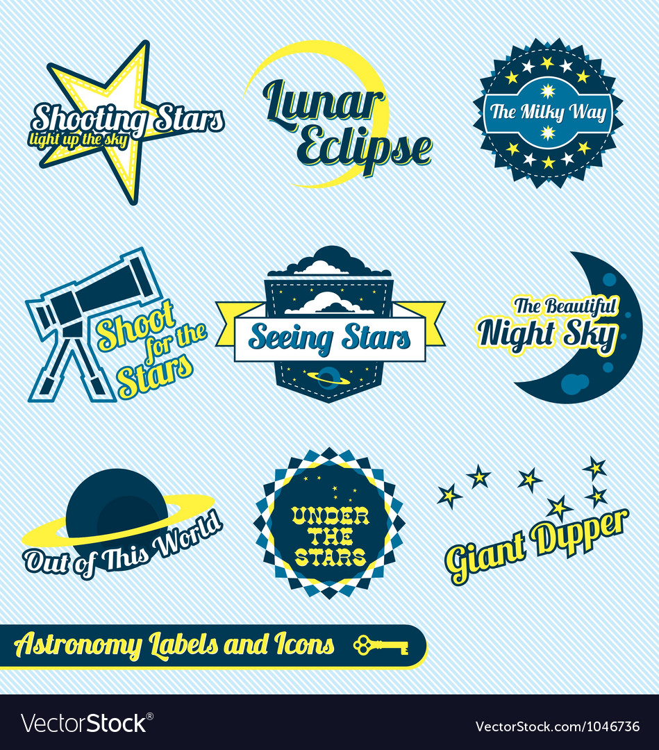 Astronomy and Stars Labels and Icons vector image