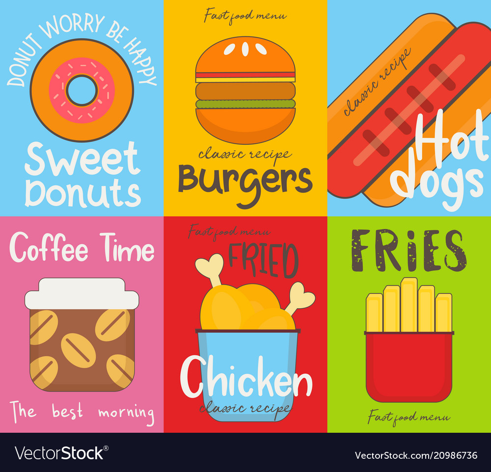 Fast food posters collection vector