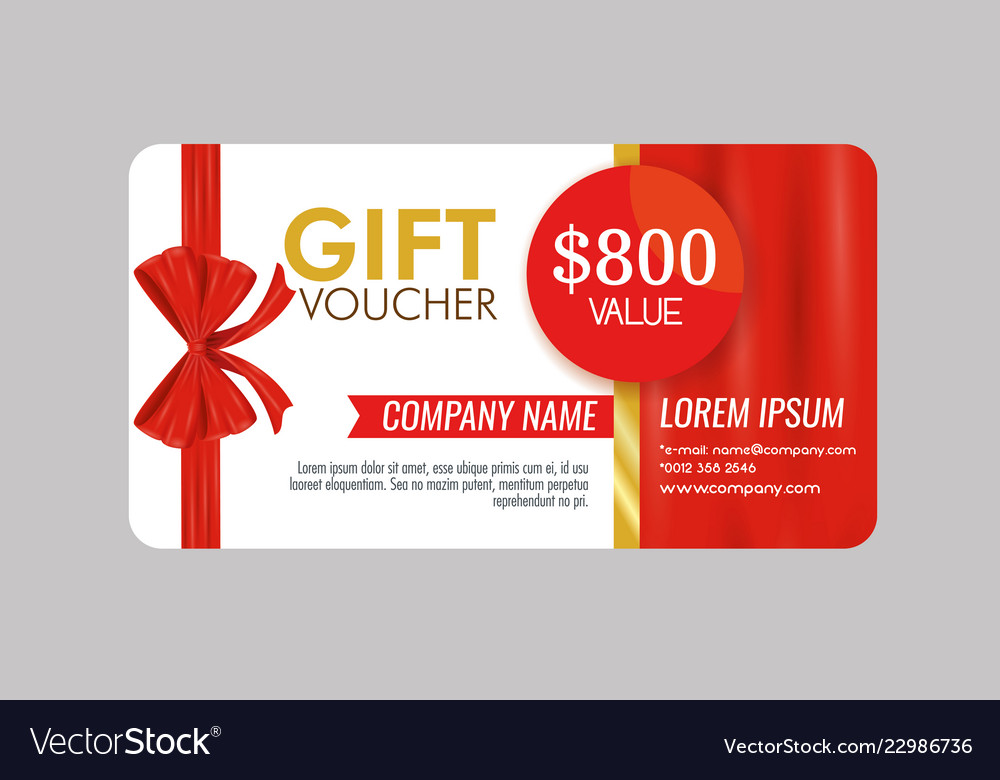Gift Coupon With Ribbon Bow And Offer Royalty Free Vector
