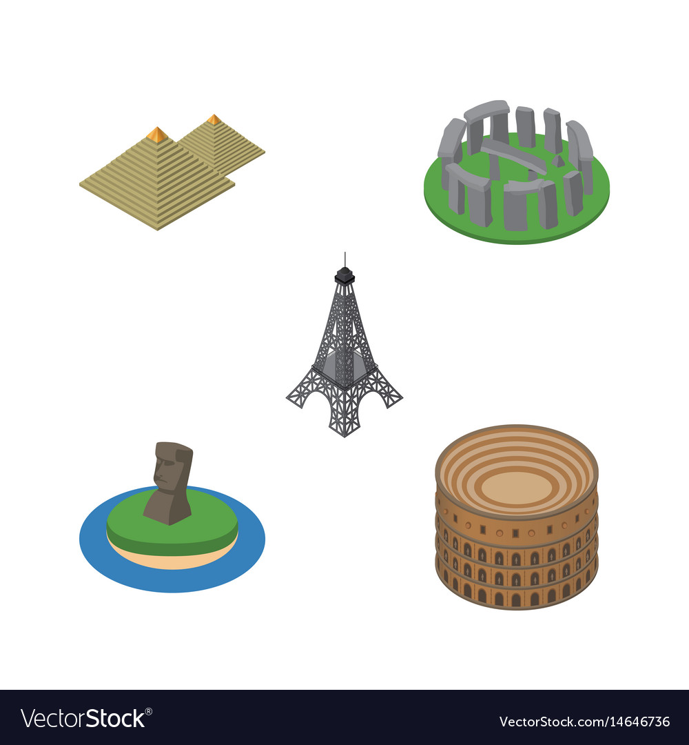 Isometric cities set of paris chile egypt and