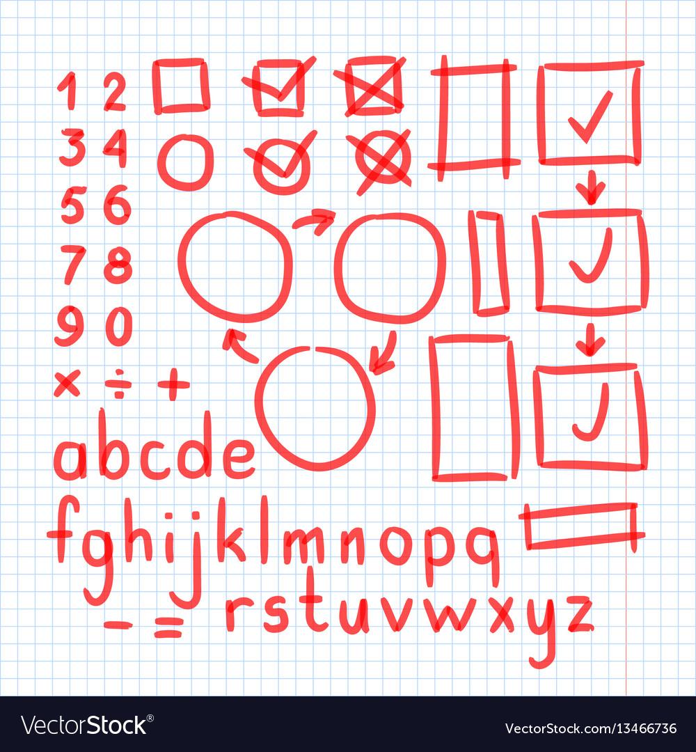 Marker hand written doodle symbols letters vector image