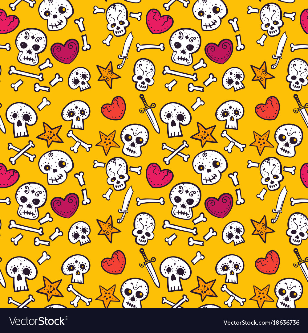 Pattern with skulls and hearts bones seamless
