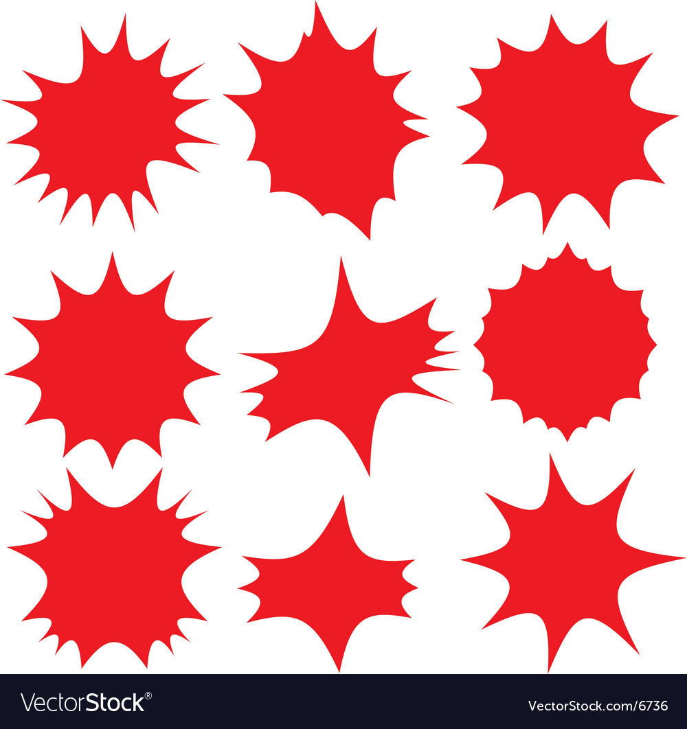 Red label bursts vector image