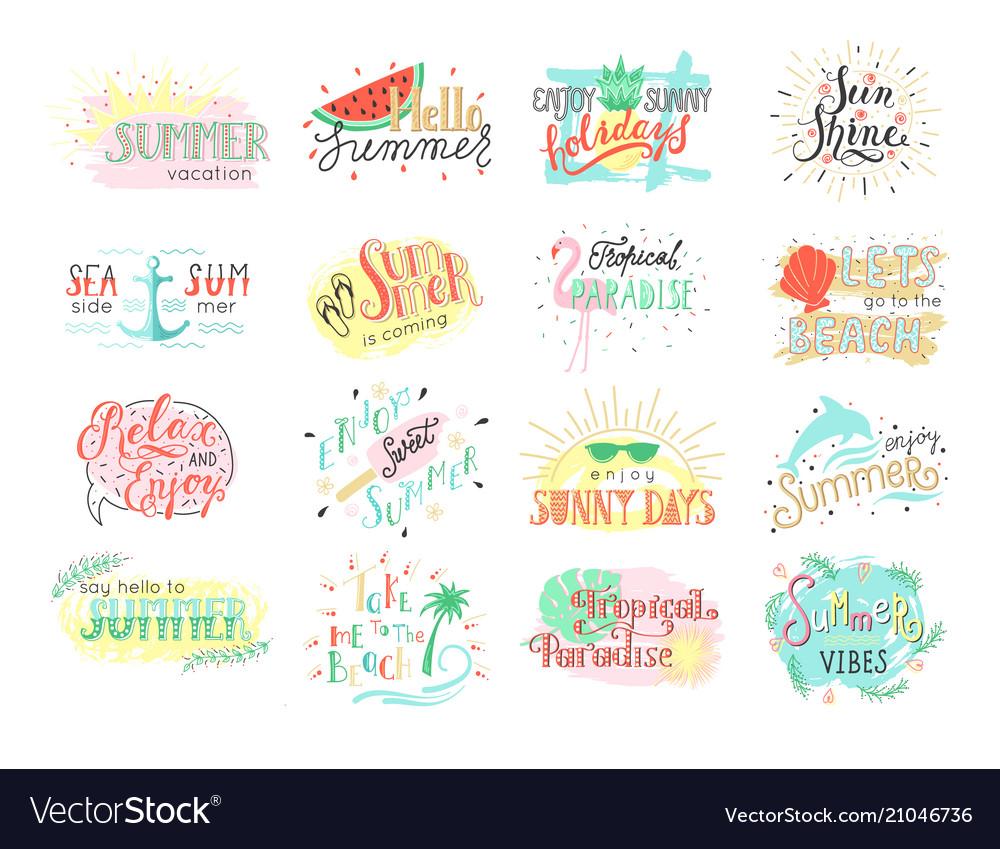 Set summer hand drawn labels logos or card