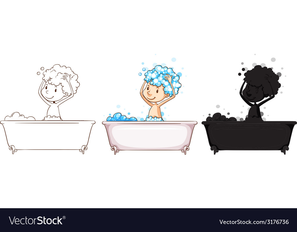 Sketches of a boy taking a bath vector image