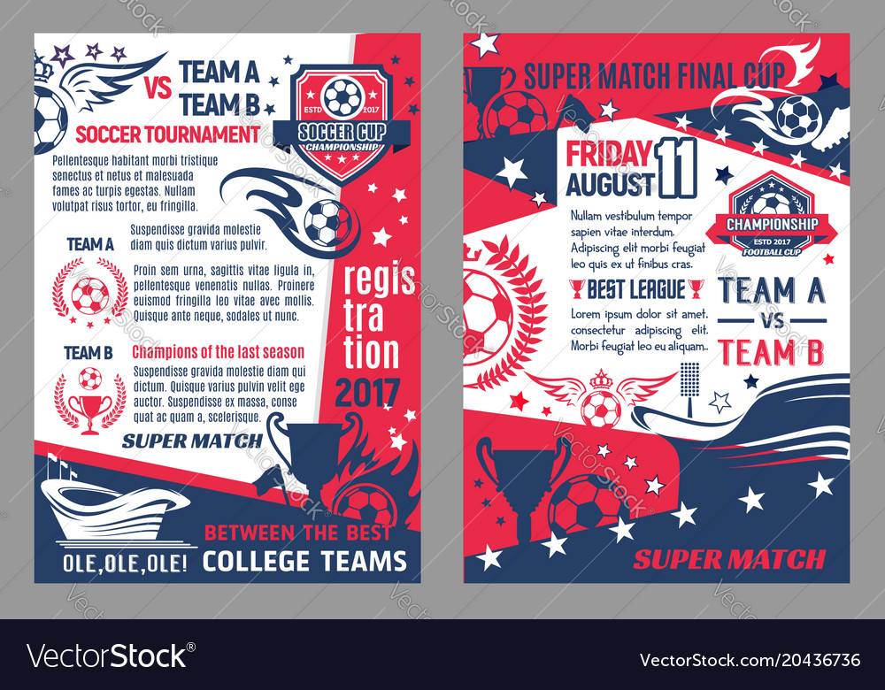 Soccer football championship posters vector image