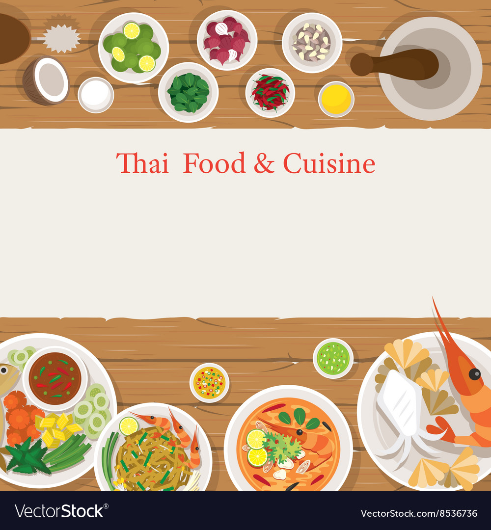 Thai Food and Ingredients Frame vector image