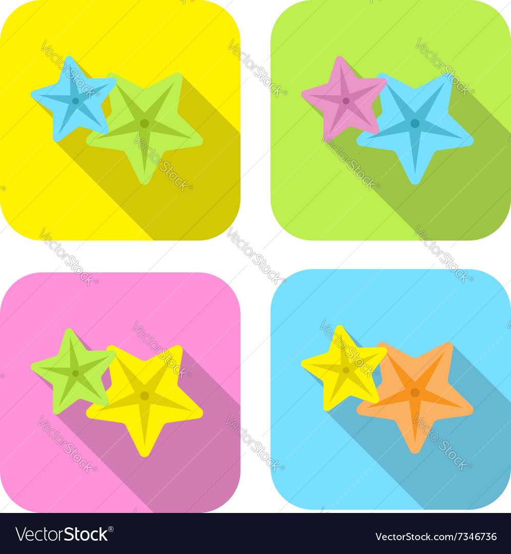 Two colorful starfish flat icon with long shadow