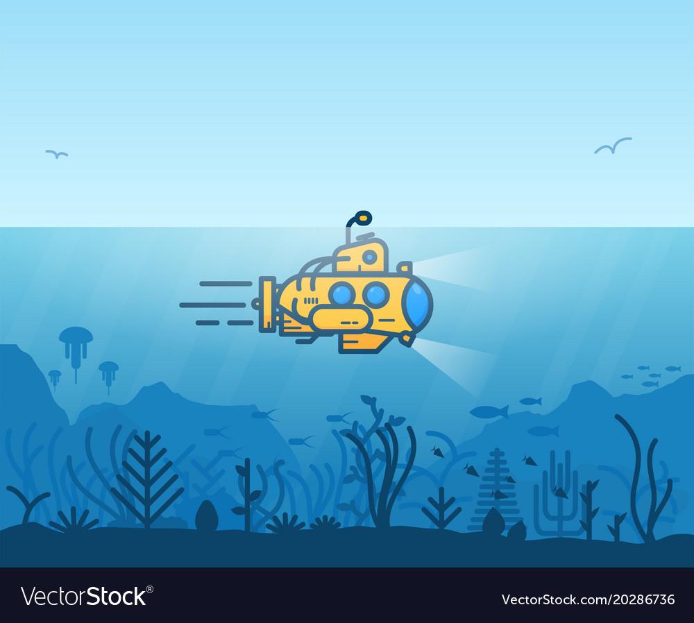 Underwater yellow submarine