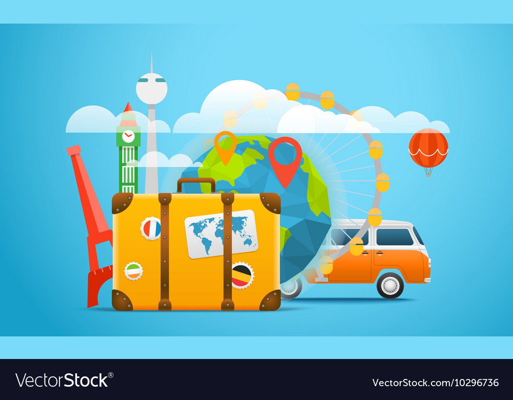 Vacation travelling composition with retro red bus vector image