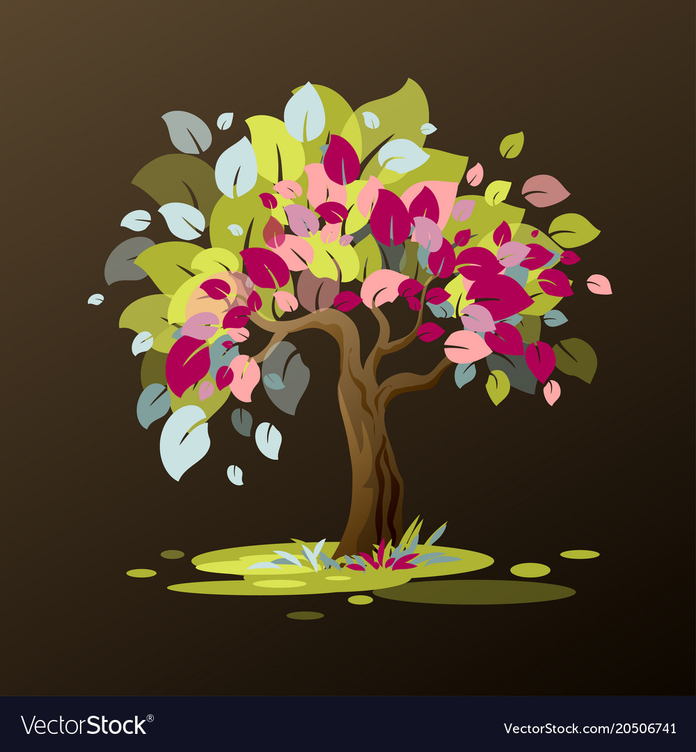 An Unusual Tree With Multi Colored Leaves Is Vector Image