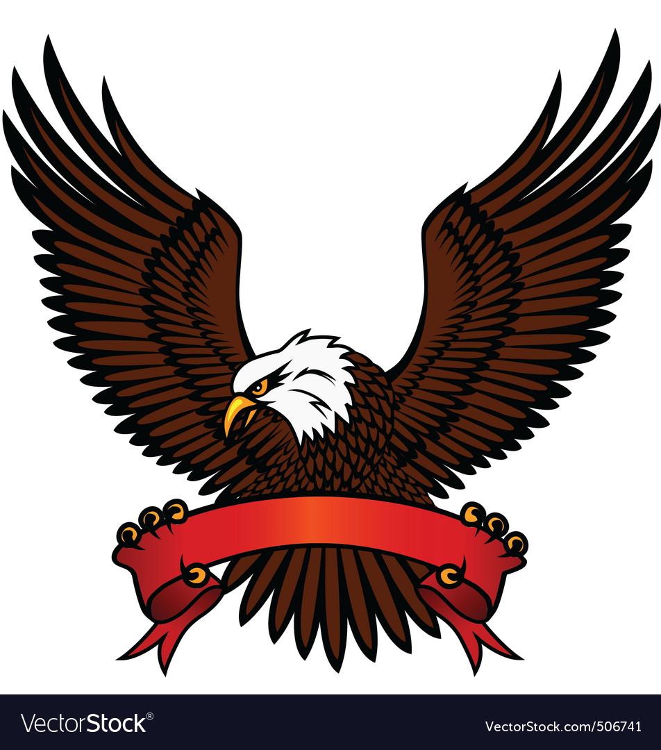 Bald eagle and red emblem