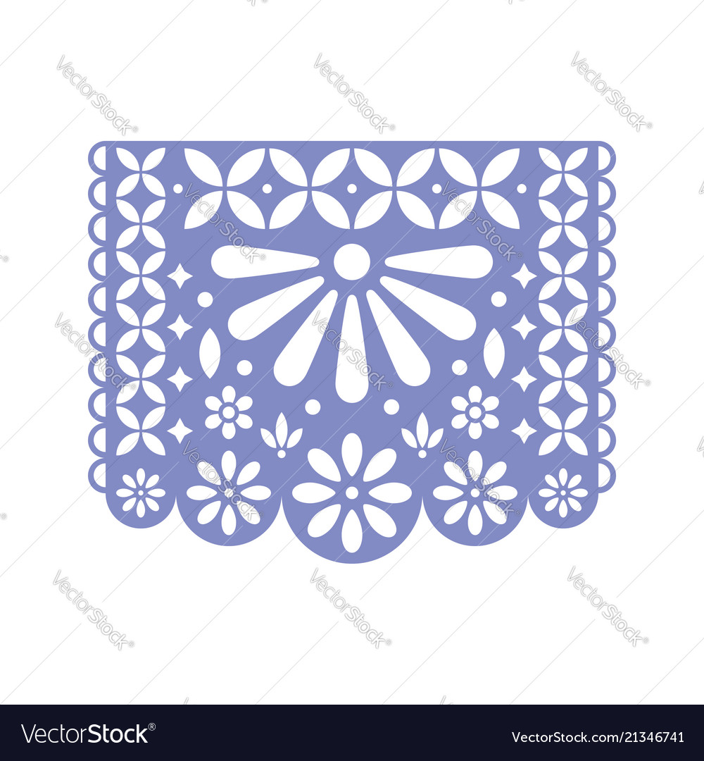 Bright paper with cut out flowers and geometric