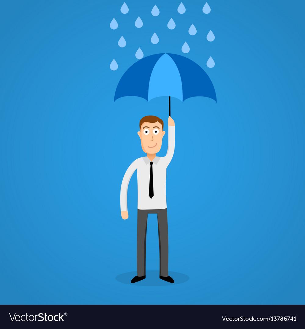 Business man in rain with umbrella